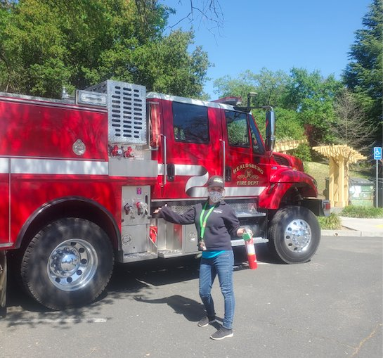 Nicole Diamantini in front of fire truck