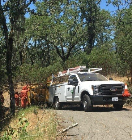 Cutting tree branches ahead of fire season.