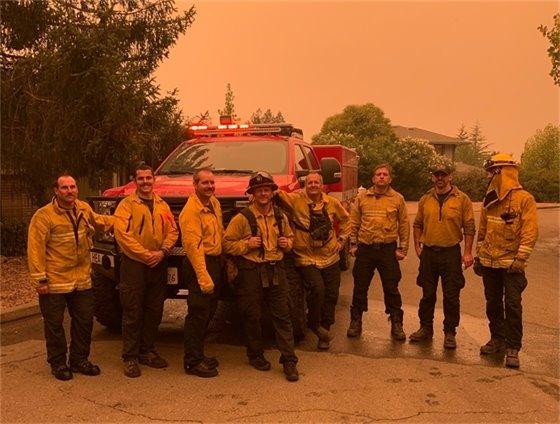 Healdsburg firefighters at Glass Fire