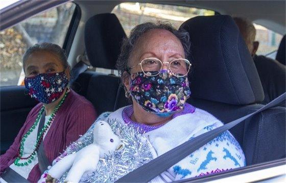 Seniors with masks on