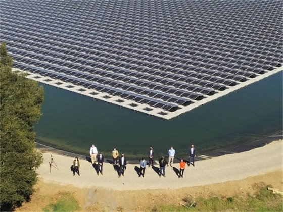 City Council & City Staff at Floating Solar Array, Feb. 24, 2021