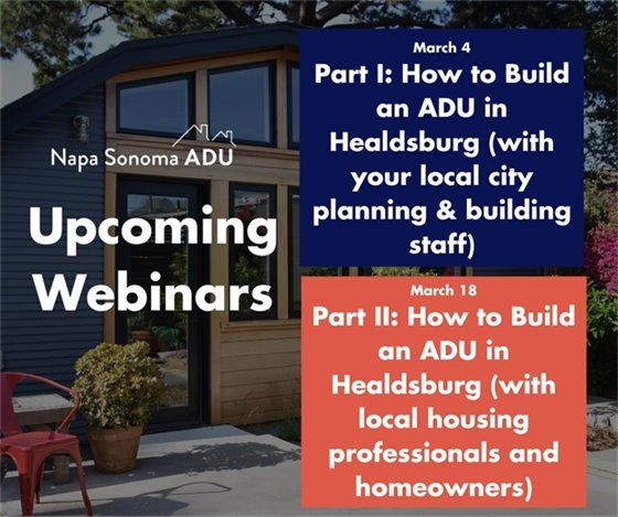 Image of house with text advertising the March 14 and 18 webinar on accessory-dwelling units