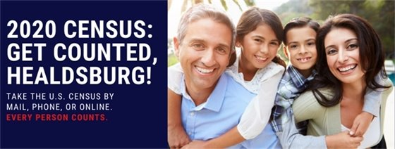Image of family with text 2020 Census: Get Counted, Healdsburg!