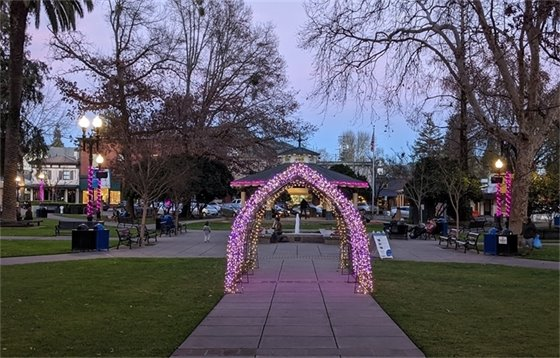 Lighted archway in downtown plaza