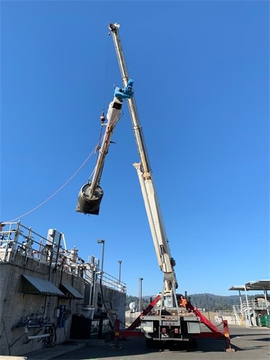 Craning out fine screen at Wastewater Treatment Plant