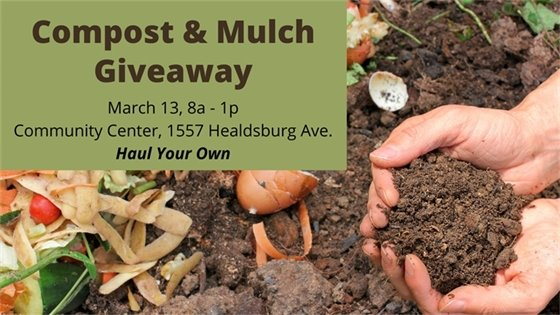 Compost and mulch giveaway on March 13 from 8 AM to 1 PM at Community Center