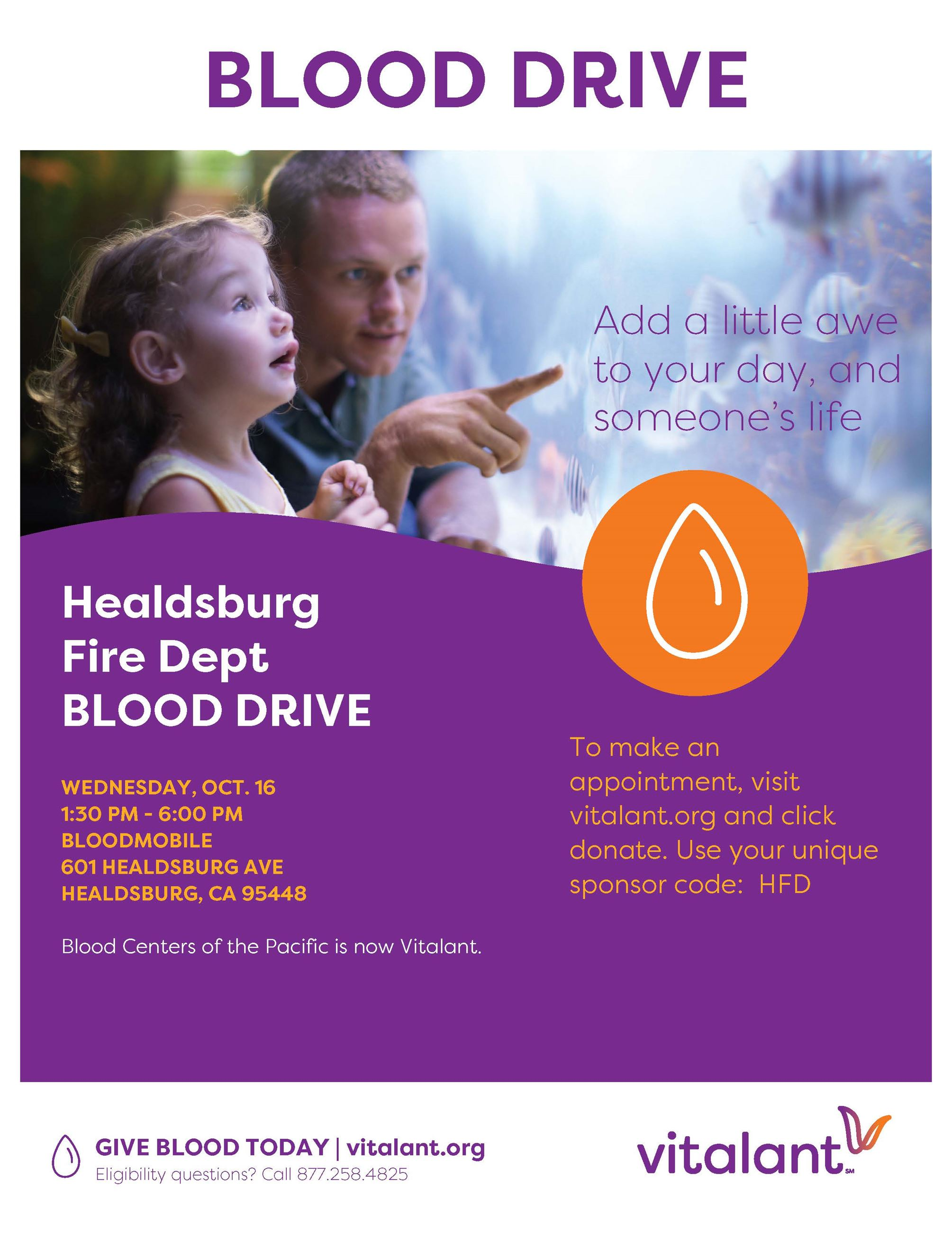 Healdsburg Fire BLOOD DRIVE flyer October 16 2019