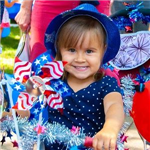 Girl dressed for Fourth of July